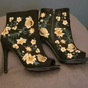 JustFab Bianka embroidered peep toe boots.